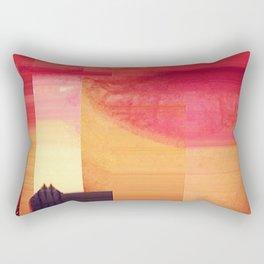Sunset Barn Glitch Rectangular Pillow
