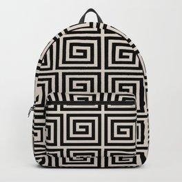 Hollywood Regency Greek Key Pattern Black and Linen White Backpack