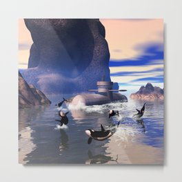 Submarine with orcas  Metal Print