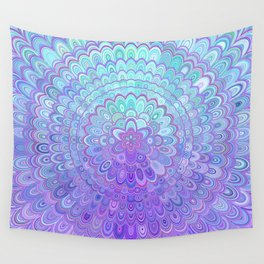 Mandala Flower in Light Blue and Purple Wall Tapestry