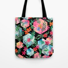 Whimsical Hexagon Garden on black Tote Bag