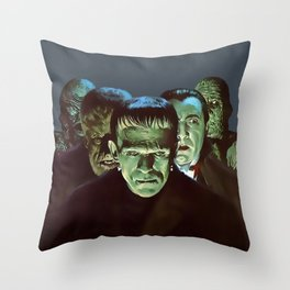 Famous Monsters Gang Throw Pillow