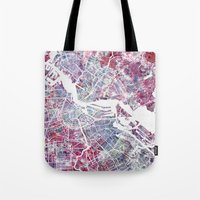 amsterdam Tote Bags featuring Amsterdam by MapMapMaps.Watercolors