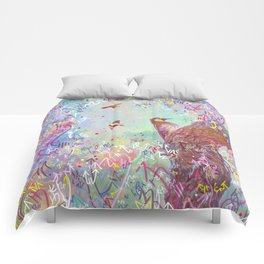 Curious Woodpecker and Friends Comforters