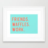 parks and rec Framed Art Prints featuring PARKS AND REC FRIENDS WAFFLES WORK by comesatyoufast