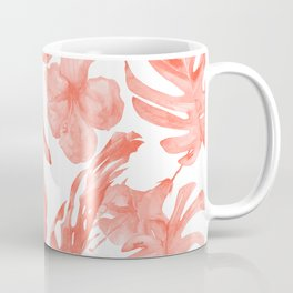 Tropical Hibiscus and Palm Leaves Dark Coral White Coffee Mug