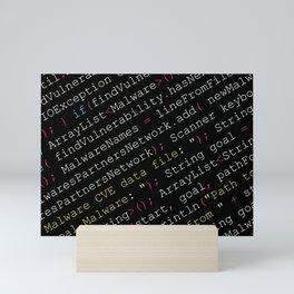 Hacking Malware Source Code (Black background, angled) Mini Art Print