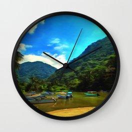 Mismaloya River Fishing Boats Wall Clock