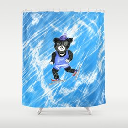 Skating bear Shower Curtain