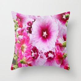 DECORATIVE FUCHSIA-PINK HOLLYHOCK  PATTERNS GARDEN ART Throw Pillow