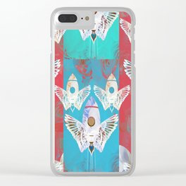 Magic Rocket Wings Space Print Clear iPhone Case