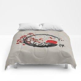 Zen Enso Circle and Sakura Branches Comforters