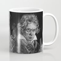 beethoven Mugs featuring Beethoven by Sean Villegas