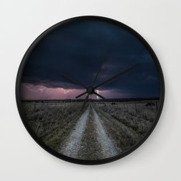 Darkness Falls - Lightning Strikes Down a Country Road at Night Wall Clock