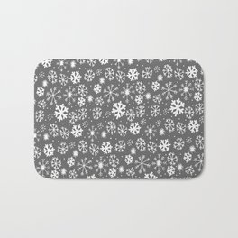 Snowflake Snowstorm With Silver Grey Gray Background Bath Mat