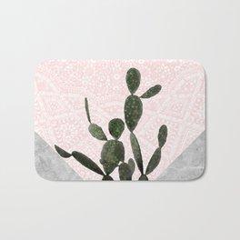 Cactus on Concrete and Pink Persian Mosaic Mandala Wall Bath Mat