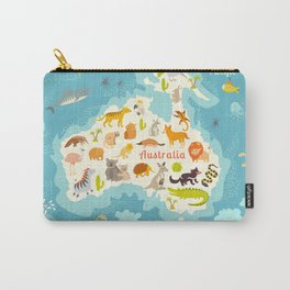 Animals world map, Australia. Vector illustration, preschool, baby, continents, oceans, education, d Carry-All Pouch