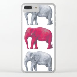 Elephants Red Clear iPhone Case