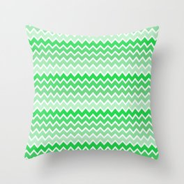 Green Ombre Chevron Throw Pillow