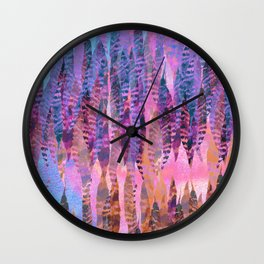 Tie Dye Feathers Wall Clock