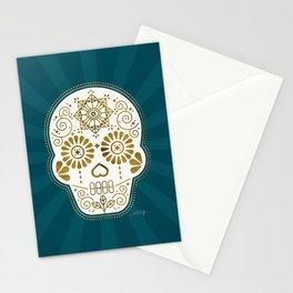 Día de Muertos Calavera • Mexican Sugar Skull – Teal & Bronze Palette Stationery Cards