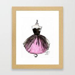 Pink and Black Sheer Dress Fashion Illustration Framed Art Print