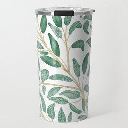Green Leaf Pattern Travel Mug
