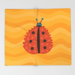 Orange Ladybug Autumn Leaf Throw Blanket