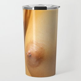 Woman's Pierced Nipples and a Feather Travel Mug