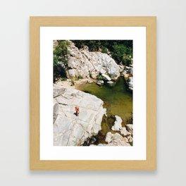 Hiking on Rocks Framed Art Print