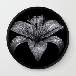 Backyard Flowers In Black And White 8 Wall Clock