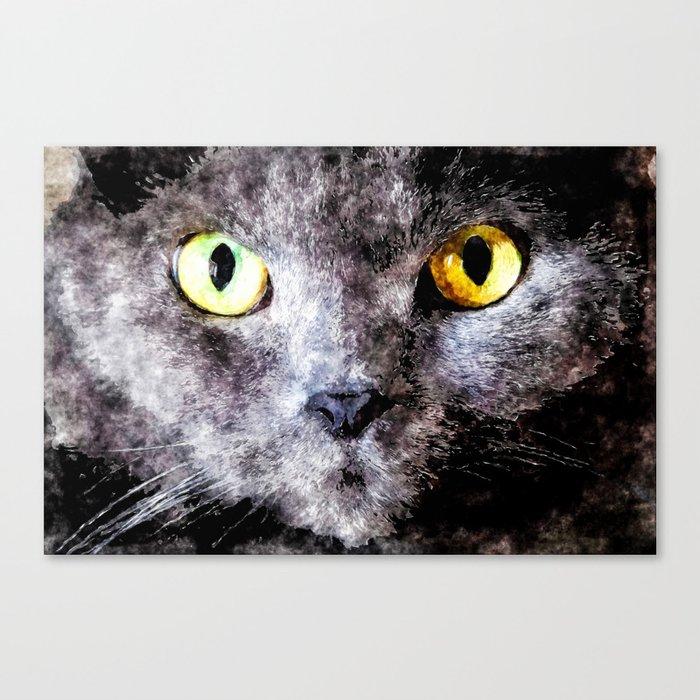 Black cat - Animal Watercolor Illustration Canvas Print