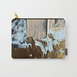 Compelling: a minimal, abstract mixed-media piece in gold, pink, black and white by Alyssa Hamilton Carry-All Pouch