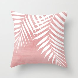Pink Paint Stroke of Palm Leaves Throw Pillow