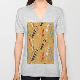 Bright Retro Skii Pattern Unisex V-Neck