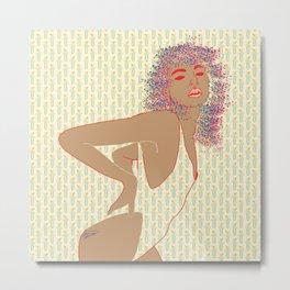 80'S Leotard Lady with Retro Pattern Background Digital Drawing Metal Print