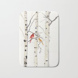 Birch Trees and Cardinal Bath Mat