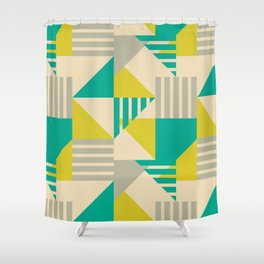 Geometric Abstract - Greens Shower Curtain