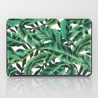 gray iPad Cases featuring Tropical Glam Banana Leaf Print by Nikki