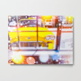 yellow classic taxi car with colorful bokeh light abstract background Metal Print