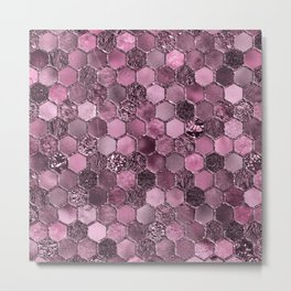 Pink & purple geometric hexagonal elegant & luxury pattern Metal Print