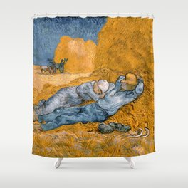 "Vincent van Gogh - Noon Rest From Work (A ""Copy"" of a Jean-François Millet Work) Shower Curtain"