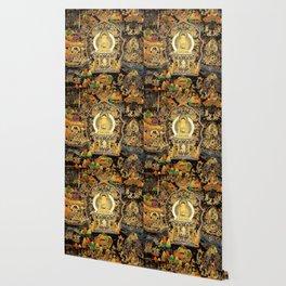 Buddha Life Autumn Gold Thangka Wallpaper