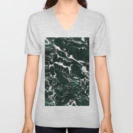 Dark green forest watercolor white marble christmas pattern Unisex V-Neck