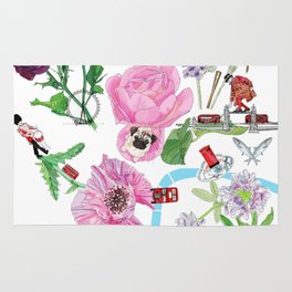 London in Bloom - Flowers and transportation that make London Rug