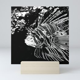 lionfish vector art black white Mini Art Print
