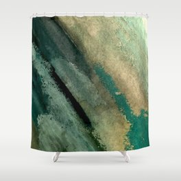 Green Thumb - an abstract mixed media piece in greens and blues Shower Curtain