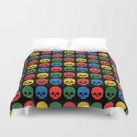 skulls Duvet Covers featuring skulls by Fabian Bross
