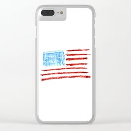 Flag of Usa Chalk version- america,us,united states,american,spangled,star and strips Clear iPhone Case