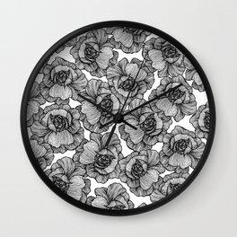 Elegant Black and White Modern Line Art Flowers Wall Clock